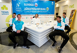 Mike Urbanija, Grega Zemlja, Blaz Trupej, Captain, Tomislav Ternar and Tilen Zitnik during press conference of Slovenian National Men Tennis Team before Davis Cup against South Africa Republic, on March 30, 2017 in Ljubljana, Slovenia. Photo by Vid Ponikvar / Sportida