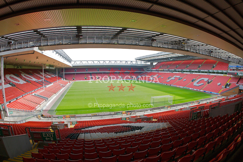 The view of the Anfield pitch from the Spion Kop, centre of Block 204.