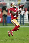 San Francisco 49ers cornerback JaCorey Shepherd (38) jumps and catches the ball during the 2016 NFL week 11 regular season football game against the New England Patriots on Sunday, Nov. 20, 2016 in Santa Clara, Calif. The Patriots won the game 30-17. (©Paul Anthony Spinelli)
