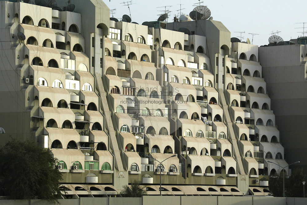 Modern style apartment building in downtown Kuwait City, Kuwait along the Persian Gulf of the Arabian Sea.