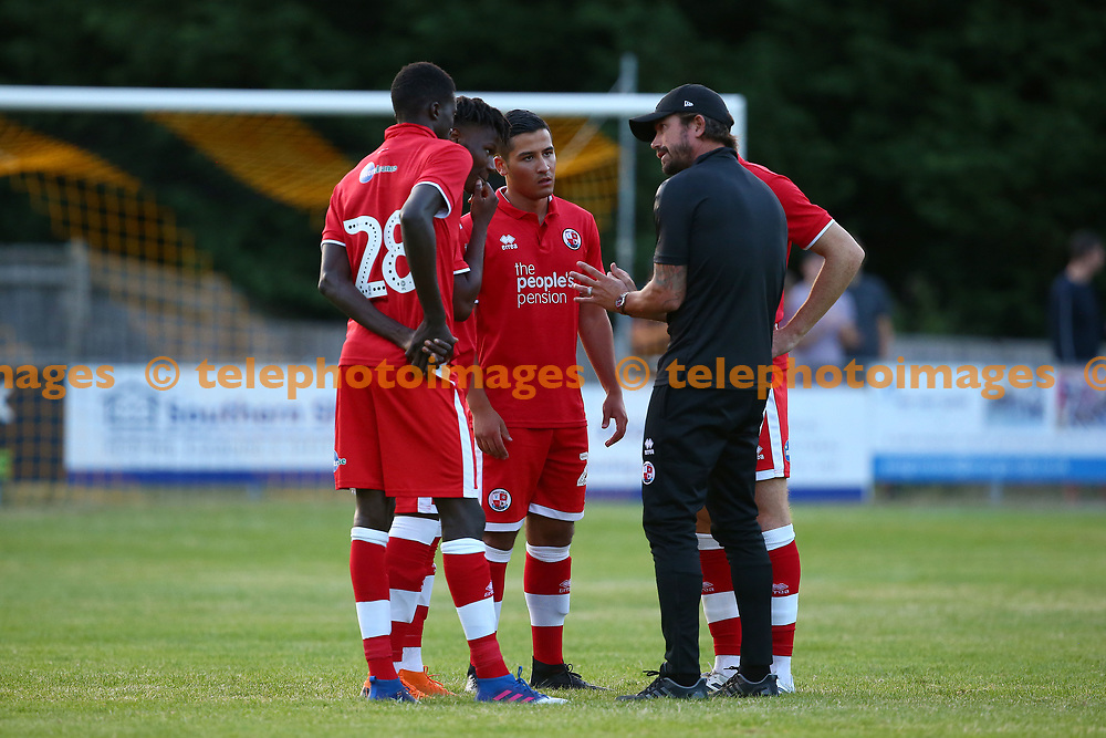 Crawley Town's head coach Harry Kewell during the pre season friendly between Crawley Town and Ipswich Town at East Court, East Grinstead, UK. 17 July 2018.