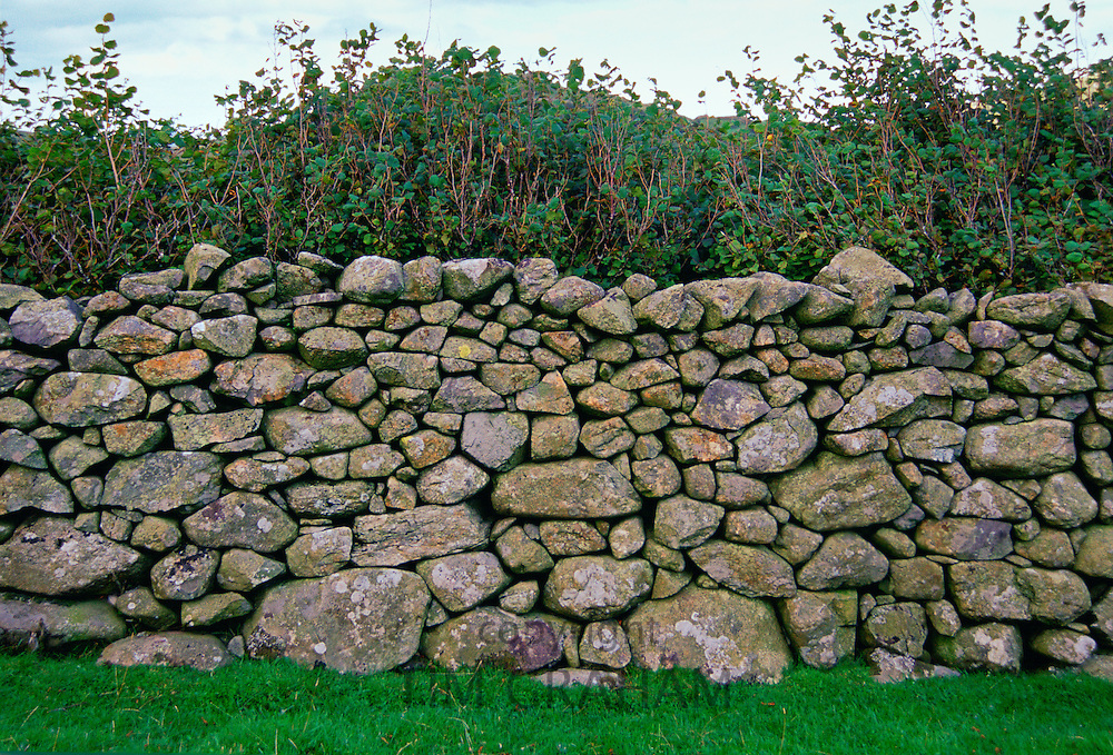 A close-up of a traditional dry stone wall nead Cader Idris in North Wales, United Kingdom.