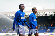 Ipswich Town striker Freddie Sears (20) and Ipswich Town striker Ben Folami (34) before the EFL Sky Bet Championship match between Ipswich Town and Aston Villa at Portman Road, Ipswich, England on 21 April 2018. Picture by Nigel Cole.<br /> <br /> Ipswich Town caretaker manager Bryan Klug<br /> <br /> Aston Villa's Lewis Grabban (45)