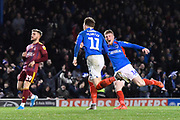 Goal - Ronan Curtis (11) of Portsmouth celebrates after he scores a goal to give a 1-0 lead during the EFL Sky Bet League 1 match between Portsmouth and Ipswich Town at Fratton Park, Portsmouth, England on 21 December 2019.