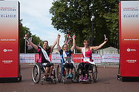 The Winners of the Womens Hand cyclist  Race on the podium during The Prudential RideLondon <br /> Sunday 2nd August 2015. <br /> <br /> Prudential RideLondon is the world's greatest festival of cycling, involving 95,000+ cyclists – from Olympic champions to a free family fun ride - riding in five events over closed roads in London and Surrey over the weekend of 1st and 2nd August 2015. <br /> <br /> Photo: Paul Gregory<br /> <br /> See www.PrudentialRideLondon.co.uk for more.<br /> <br /> For further information: Penny Dain 07799 170433<br /> pennyd@ridelondon.co.uk
