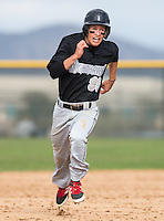 Murrieta Valley's Shad Soto (98) runs for third in a league game at Vista Murrieta High School.  Image Credit: Amanda Schwarzer