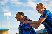 Gillingham FC forward Brandon Hanlan (7) (left) scores a goal (x-x) and celebrates with team mates Gillingham FC forward Tom Eaves (9) during the EFL Sky Bet League 1 match between Gillingham and Fleetwood Town at the MEMS Priestfield Stadium, Gillingham, England on 3 November 2018.<br /> Photo Martin Cole