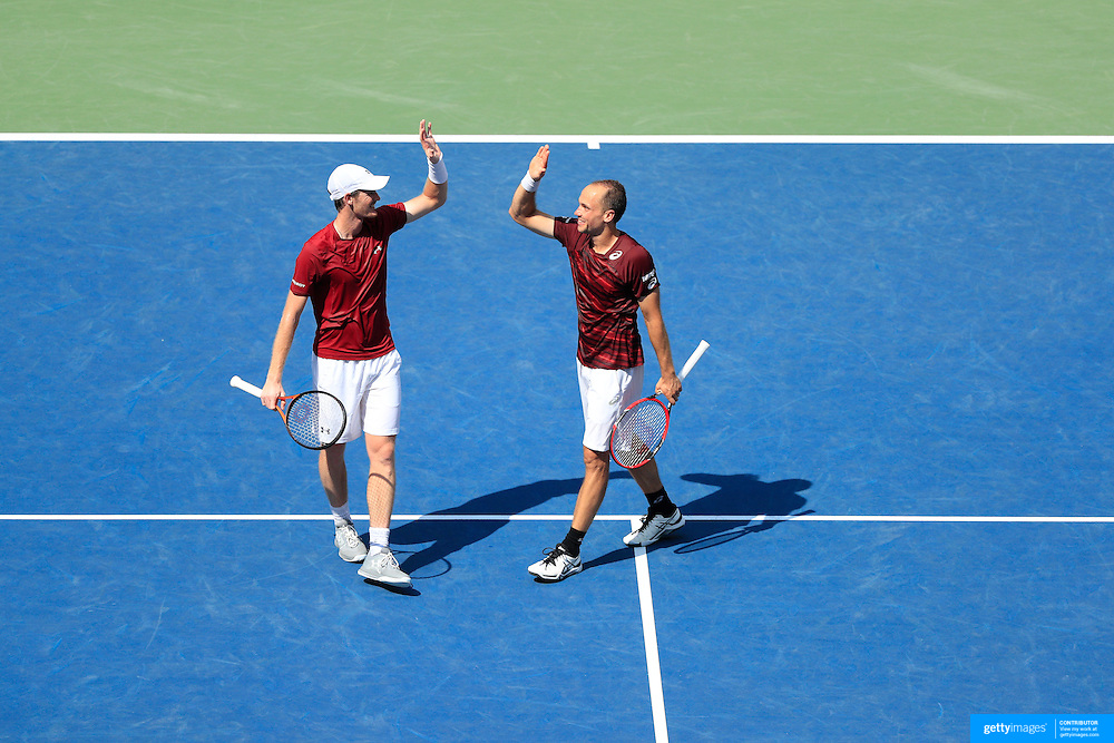 2016 U.S. Open - Day 13  Jamie Murray of Great Britain and Bruno Soares of Brazil celebrate after winning the Men&rsquo;s Doubles Final against Pablo Carreno Busta and<br /> Guillermo Garcia-Lopez of Spain on Arthur Ashe Stadium on day thirteen of the 2016 US Open Tennis Tournament at the USTA Billie Jean King National Tennis Center on September 10, 2016 in Flushing, Queens, New York City.  (Photo by Tim Clayton/Corbis via Getty Images)