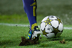 Ball and shoe during Play-offs for Champions League between NK Maribor (Slovenia) and GNK Dinamo Zagreb (Croatia), on August 28, 2012, in Maribor, Slovenia. (Photo by Matic Klansek Velej / Sportida.com)