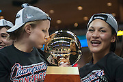 Senior Stephanie Golden kisses the WCC Tournament trophy after Gonzaga's 71-57 victory over BYU. (Austin Ilg photo, Gonzaga Bulletin)