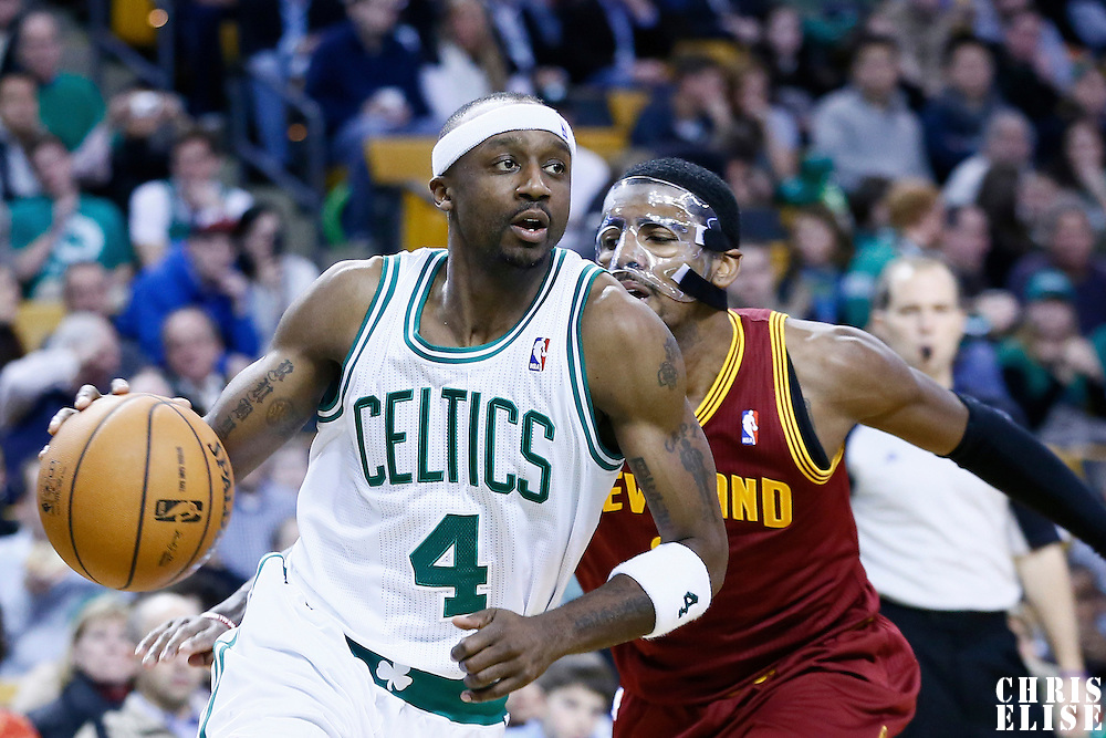 19 December 2012: Boston Celtics shooting guard Jason Terry (4) drives past Cleveland Cavaliers point guard Kyrie Irving (2) during the Boston Celtics 103-91 victory over the Cleveland Cavaliers at the TD Garden, Boston, Massachusetts, USA.