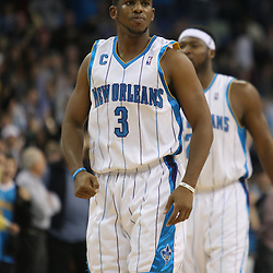 Jan 02, 2010; New Orleans, LA, USA; New Orleans Hornets guard Chris Paul (3) reacts after the Hornets took a lead over the Houston Rockets during the fourth quarter at the New Orleans Arena. The Hornets defeated the Rockets 99-95. Mandatory Credit: Derick E. Hingle-US PRESSWIRE