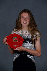 NEWPORT, WALES - Saturday, May 19, 2018: Carrie Jones during the Football Association of Wales Under-16's Caps Presentation at the Celtic Manor Resort. (Pic by David Rawcliffe/Propaganda)