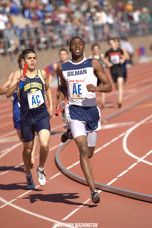 Jibri McLean of Gilman School in Baltimore, MD runs the shird leg of the 4x800 during a High School Boys' 4x800 Small Schools heat at the Penn Relays athletic meet on Friday, April 29, 2011 in Philadelphia, PA.