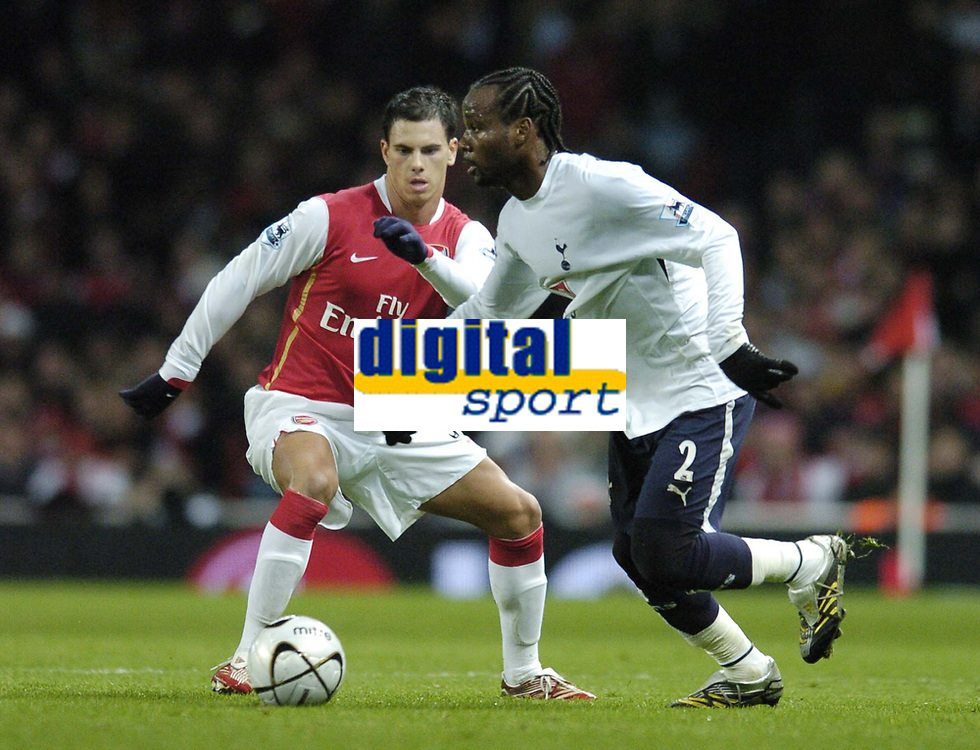 Photo: Olly Greenwood.<br />Arsenal v Tottenham Hotspur. Carling Cup Semi Final 2nd leg 31/01/2007. Spurs Pascal Chimbonda and Arsenal's Jeremie Aliadiere