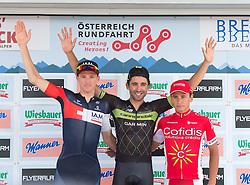 12.07.2015, Innsbruck, AUT, Österreich Radrundfahrt, 8. Etappe, von Innsbruck nach Bregenz, im Bild v.l. David John Tanner (AUS, 2. Platz Etappe), Moreno Moser (ITA, 1. Platz Etappe), Clement Venturini (FRA, 3. Platz Etappe) // f.l.t.r. 2nd place stage David John Tanner of Australia 1st place stage Moreno Moser of Italy 3rd place stage Clement Venturini of France place stage Clement Venturini of France during the Tour of Austria, 8th Stage, from Innsbruck to Bregenz, Innsbruck, Austria on 2015/07/12. EXPA Pictures © 2015, PhotoCredit: EXPA/ Reinhard Eisenbauer