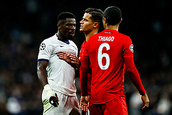 Philippe Coutinho splits up Serge Aurier of Tottenham Hotspur and Thiago Alcantara of Bayern Munich - Rogan/JMP - 01/10/2019 - FOOTBALL - Tottenham Hotspur Stadium - London, England - Tottenham Hotspur v Bayern Munich - UEFA Champions League Group B.