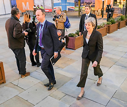(c) Licensed to London News Pictures. <br /> 03/10/2017<br /> Manchester, UK<br /> <br /> Prime Minister Theresa May walks into the convention centre at the Conservative Party Conference held at the Manchester Central Convention Complex.<br /> <br /> Photo Credit: Ian Forsyth/LNP