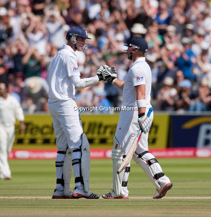 Matt Prior (right) and Stuart Broad during the first npower Test Match between England and India at Lord's Cricket Ground, London.  Photo: Graham Morris (Tel: +44(0)20 8969 4192 Email: sales@cricketpix.com) 24/07/11