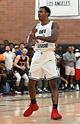 No Shnacks guard  Deshon Taylor (3) completes a pass during a Drew League basketball game, Saturday, June 8, 2019, in Los Angeles.  (Dylan Stewart/Image of Sport)