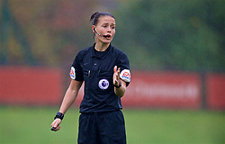 KIRKBY, ENGLAND - Sunday, October 21, 2018: Referee Rebecca Welch during the Under-23 FA Premier League 2 Division 1 match between Liverpool FC and Derby County at The Kirkby Academy. (Pic by David Rawcliffe/Propaganda)