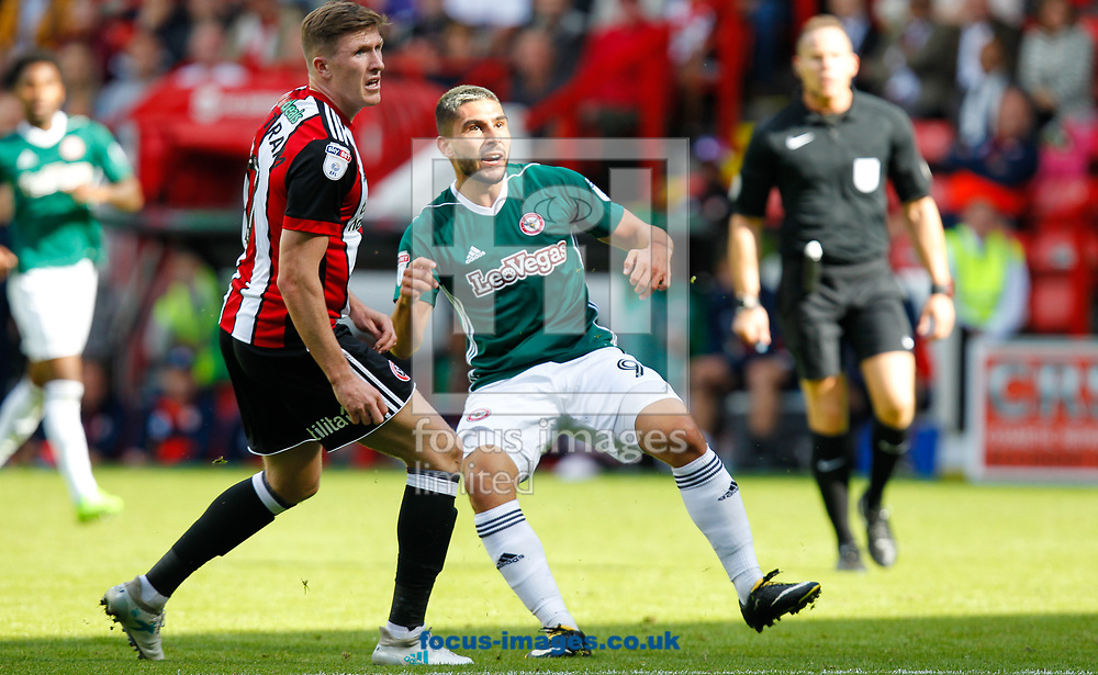 John Lundstram of Sheffield United and Neal Maupay of Brentford watch his shot hit the bar during the Sky Bet Championship match between Sheffield United and Brentford at Bramall Lane, Sheffield<br /> Picture by Mark D Fuller/Focus Images Ltd +44 7774 216216<br /> 05/08/2017