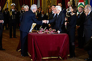 Rome dec 21th 2015, swearing-in ceremony of  new Constitutional Court members. In the picture Giulio Prosperetti, Sergio Mattarella