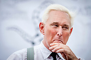 Roger Stone speaks at an America First event outside the Republican National Convention in Cleveland in 2016, where Donald Trump was nominated as the Republican Presidential candidate.