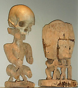 Korwars or ancestral figures. These appear accross Papua New Guinea and are used to recall the memories of the dead. They sometimes include a human skull as a key element.early 20th century