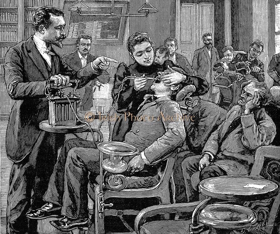 Female student treating a patient under supervision: clinic at School of Dentistry, Paris. Wood engraving, 1892