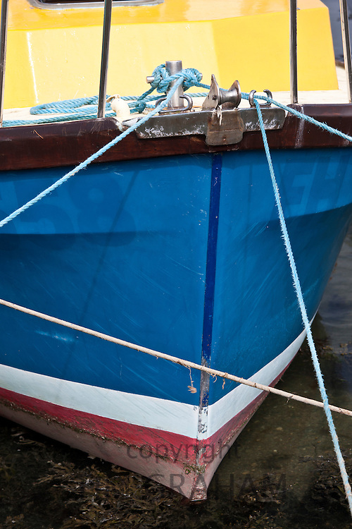 Brightly coloured fisherman's boat, Cornwall, UK