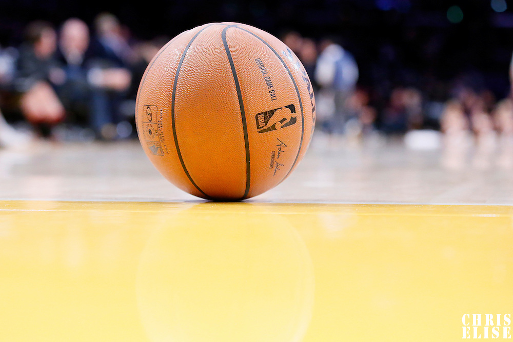 04 April 2014: Close view of a Spalding official game ball during the Dallas Mavericks 107-95 victory over the Los Angeles Lakers at the Staples Center, Los Angeles, California, USA.