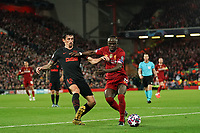 Football - 2019 / 2020 UEFA Champions League - Round of Sixteen, Second Leg: Liverpool (0) vs. Atletico Madrid (1)<br /> <br /> Liverpool's Sadio Mane battles with Stefan Savic of Atletico Madrid, at Anfield.<br /> <br /> <br /> COLORSPORT/TERRY DONNELLY