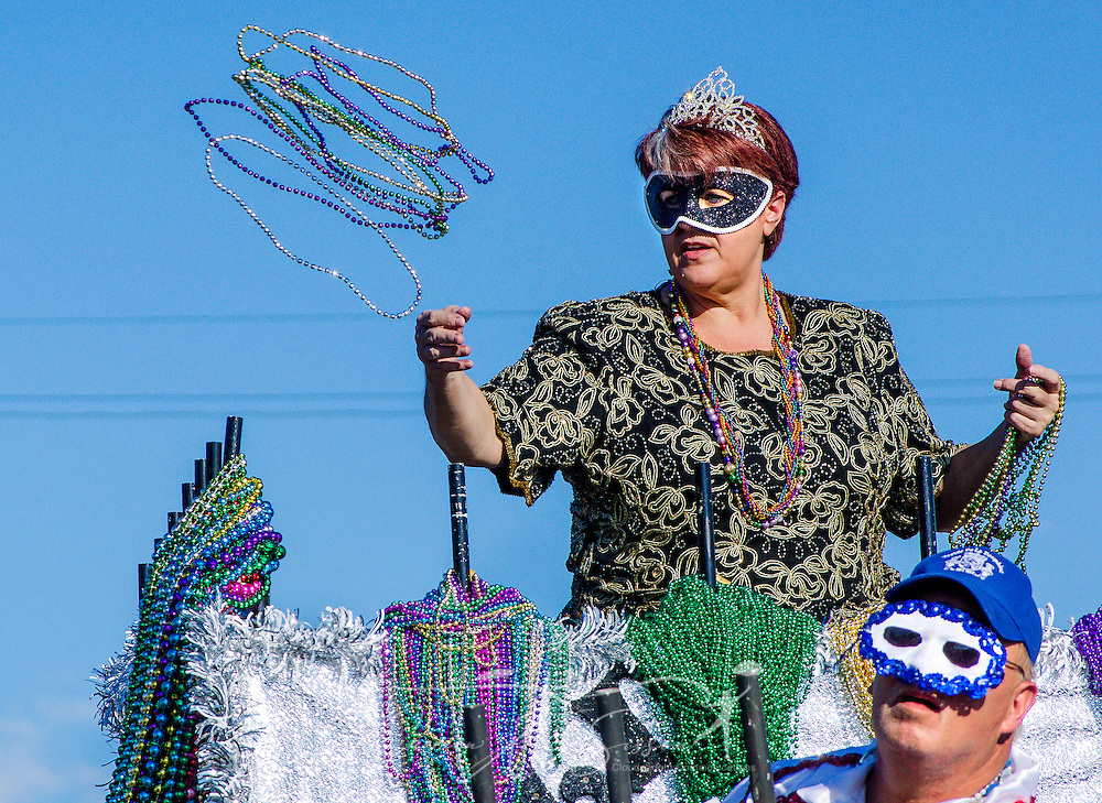 The Krewe de la Dauphine parade rolled through Dauphin Island, Jan. 17, 2015, officially kicking off Mobile's Mardi Gras season. An estimated 30,000 to 35,000 people attended this year's festivities. (Photo by Carmen K. Sisson/Cloudybright)