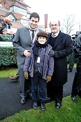 Left to right, ZAFAR RUSHDIE, MILAN RUSHDIE and their father SIR SALMAN RUSHDIE at the 2008 Hennessy Gold Cup held at Newbury racecourse, Berkshire on 29th November 2008.<br /> <br /> NON EXCLUSIVE - WORLD RIGHTS