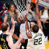 30 March 2018: Milwaukee Bucks forward Khris Middleton (22) goes for the layup during the Milwaukee Bucks 124-122 victory over the LA Lakers, at the Staples Center, Los Angeles, California, USA.