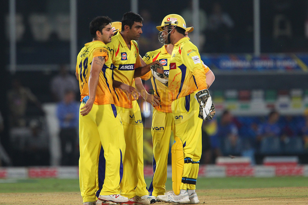 R ASHWIN of the Chennai Superkings celebrates the wicket of David MILLER of the Kings XI Punjab  during the second semi final match of the Oppo Champions League Twenty20 between the Kings XI Punjab and the Chennai Superkings held at the Rajiv Gandhi Cricket Stadium, Hyderabad, India on the 2nd October 2014<br /> <br /> Photo by:  Ron Gaunt / Sportzpics/ CLT20<br /> <br /> <br /> Image use is subject to the terms and conditions as laid out by the BCCI/ CLT20.  The terms and conditions can be downloaded here:<br /> <br /> http://sportzpics.photoshelter.com/gallery/CLT20-Image-Terms-and-Conditions-2014/G0000IfNJn535VPU/C0000QhhKadWcjYs