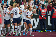 Lucy Quinn (Tottenham Hotspur) celebrates her goal to give Tottenham at 2-0 lead in the 2nd half during the FA Women's Super League match between West Ham United Women and Tottenham Hotspur Women at the London Stadium, London, England on 29 September 2019.