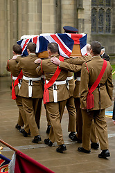 "Barer party made up of Soldiers from The Yorkshire Regiment carry Corporal Liam Rileys coffin into Sheffield Cathedral where his Funeral service took place on Wednesday 24 February.   ..Corporal Riley of 3rd Battalion Yorkshire Regiment who died in an explosion in Afghanistan on 1 February 2010 while on foot patrol south of the Kings Hill check point Helmand. ..Upon hearing of Liam's death he was described by Price Harry as ""a legend"""
