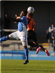 Barnets Mauro Vilhete beats Eastleighs Yemi OduBade, Barnet v Eastleigh, Vanarama Conference, Saturday 4th October 2014