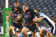 WP Nel on the ball during the Heineken Champions Cup match between Edinburgh Rugby and Montpellier Herault Rugby at BT Murrayfield Stadium, Edinburgh, Scotland on 18 January 2019.