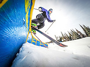 Joel Krahn/Yukon News<br /> Etienne Geoffroy rides a rail on his way to first place in the Yukon Freestyle Ski slopestyle competition on Sunday at Mount Sima.