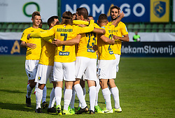 Players of Bravo celebrate after Luka Žinko of Bravo scoring first goal during football match between NK Bravo and NK Celje in 13th Round of Prva liga Telekom Slovenije 2019/20, on October 5, 2019 in ZAK stadium, Ljubljana, Slovenia. Photo by Vid Ponikvar / Sportida