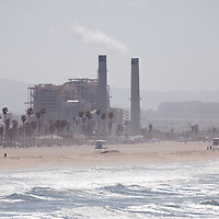 Photo of an electricity power generating factory in Huntington Beach in Orange County Southern California.