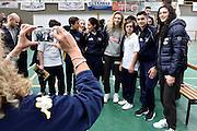 Martina Kacerik, Cecilia Zandalasini<br /> Nazionale Femminile Senior in visita al Liceo Scientifico Sportivo E. Fermi di Lucca.<br /> FIP 2016<br /> Lucca, 18/11/2016<br /> Foto Ciamillo - Castoria