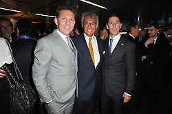 Left to right, NICK CANDY, SIR DAVID TANG and CHRISTIAN CANDY at the launch of One Hyde Park, The Residences at Mandarin Oriental, Knightsbridge, London on 19th January 2011.