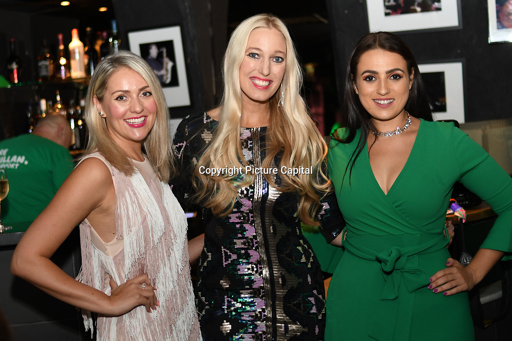 Larissa Eddie, Hayley Palmer, Amel Rachedi attend the Macmillan - charity gala summer party at Pizza Express Dean Street on 8 August 2018, London, UK.