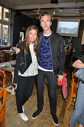 AMANDA SHEPPARD and JAMES COOK at a quiz night hosted by Zoe Jordan to celebrate the launch of her men's ZJKNITLAB collection held at The Larrick Pub, 32 Crawford Place, London on 20th April 2016.