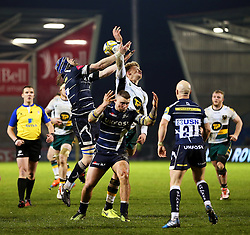 Magnus Lund of Sale Sharks challenges Harry Mallinder of Northampton Saints  - Mandatory by-line: Matt McNulty/JMP - 03/03/2017 - RUGBY - AJ Bell Stadium - Sale, England - Sale Sharks v Northampton Saints - Aviva Premiership