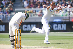 © Licensed to London News Pictures. 27/12/2013. Stuart Broad celebrates after getting the wicket of Steve Smith during Day 2 of the Ashes Boxing Day Test Match between Australia Vs England at the MCG on 27 December, 2013 in Melbourne, Australia. Photo credit : Asanka Brendon Ratnayake/LNP